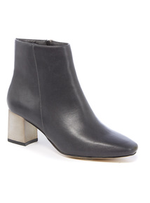 Square Toe Plated Heel Ankle Boot