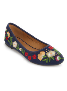 Navy Embroidered Ballerina Shoes