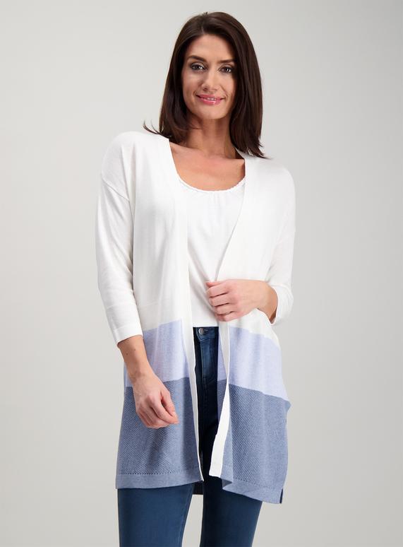 1e48e9329927 Womens Multicoloured Striped Linen Mix Cardigan