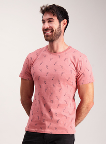 Dark Coral Parrot Print T-Shirt