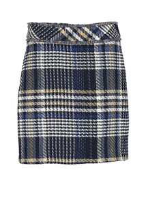 Multicoloured Check Boucle Mini Skirt