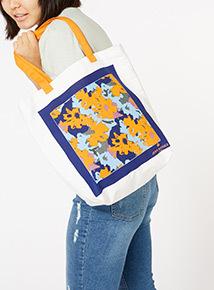 GFW White Jeff Bank Floral Print Tote Bag