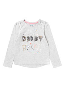 Grey 'My Daddy Rocks' Print Top (9 months-6 years)