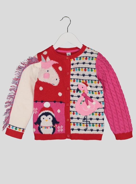 Christmas Cardigan.Multicoloured Unicorn Christmas Cardigan 9 Months 6 Years