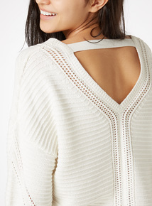 Back Detail V Neck Jumper