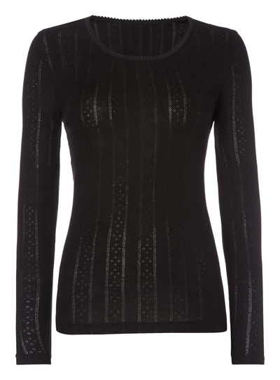 de1f5a6789ed18 Womens Black Long-Sleeved Thermal Top