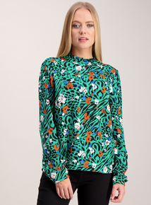 Multicoloured Floral Print High Neck Top