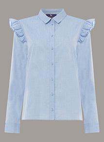 Premium Chambray Frill Front Shirt