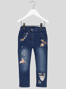 Blue Denim Floral & Animal Embroidery Jeans (9 months-6 years)