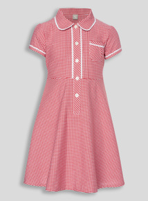 Red Generous Fit Gingham Dress (3 - 12 years)
