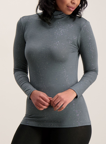 Grey Glitter Thermal Heat Active Polo Neck Top
