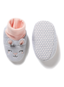 Pink & Grey Rabbit Booties
