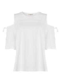 White Plain Cold Shoulder Top
