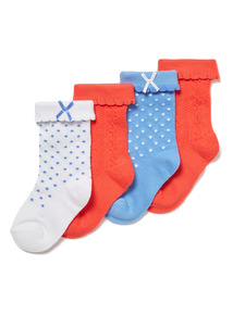 4 Pack Multicoloured Roll Top Socks (1-24 months)