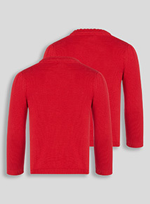 Red Scalloped Cardigan 2 Pack (3-12 years)