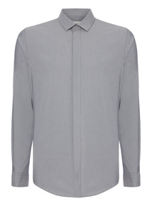 Grey Marl Stretch Slim Fit Shirt