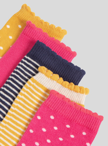 5 Pack Multicoloured Spot and Stripe Socks (3 Infant - 5.5 adult)