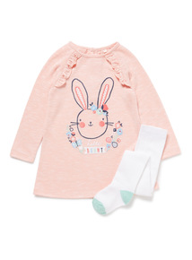 Pink Bunny Sweat Dress and Tights Set (0-24 months)