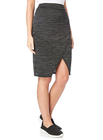 Grey Wrap Knitlook Skirt