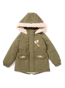 Khaki Embroidered Parka Coat (9 months-6 years)
