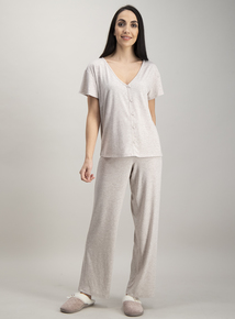 Oatmeal Button Through Pyjama Set