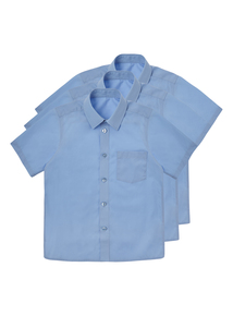 Boys Blue Non Iron Shirts 3 Pack (3-12 Years)