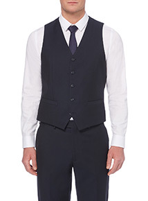 Navy Herringbone Waistcoat