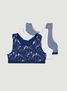 Multicoloured Unicorn Print Crop Tops 3 Pack (6-13 years)