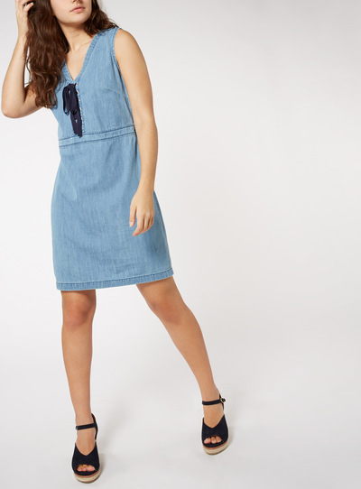 Tie Detail Denim Pinny Dress
