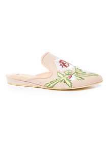 Online Exclusive Embroidered Slip On Mules