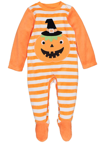 Orange Velour Pumpkin Halloween Sleepsuit (0 - 24 months)