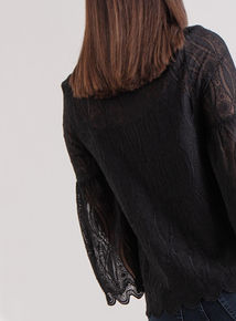 Premium Online Exclusive Black Fluted Sleeve Lace Blouse