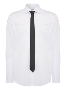 White Slim Fit Shirt and Dotted Tie Set