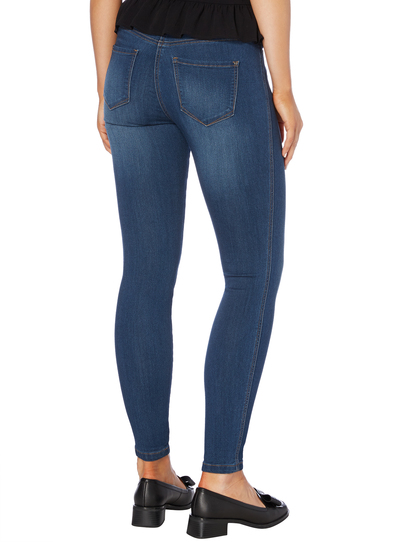 Navy Mid Wash Skinny Jeans