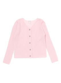 Girls Pink Ribbed Cardigan (3-12 years)