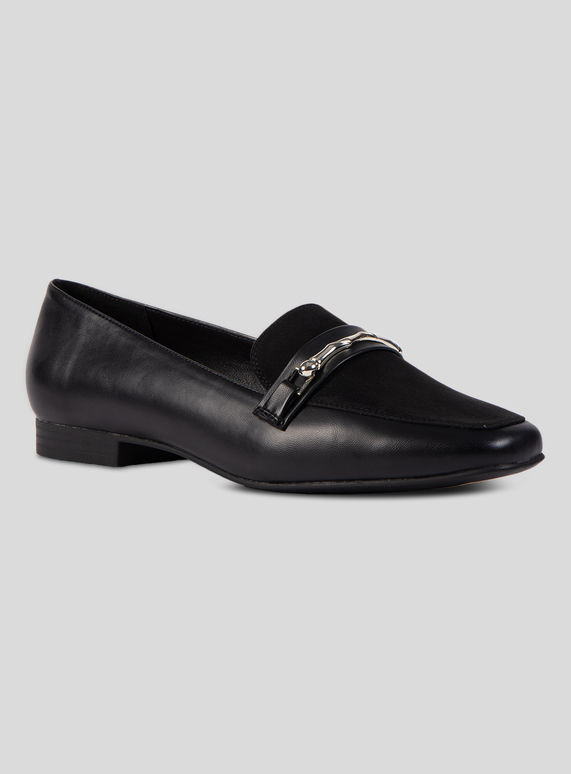 0e592a9b416 Womens Sole Comfort Black Silver Buckle Loafer