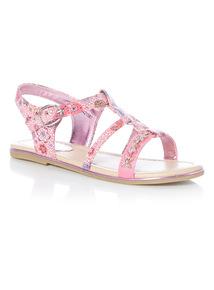 Girls Pink Gladiator Sandals