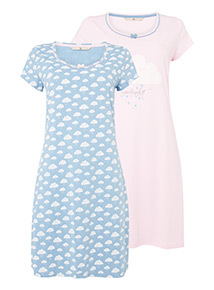 2 Pack Cloud and Goodnight Print Nightdresses