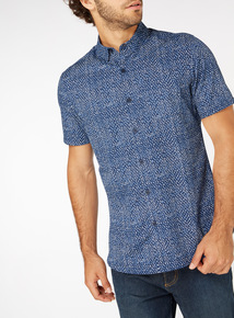 Navy Geo Print Slim Fit Shirt
