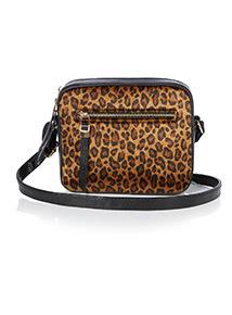 Multicoloured Leopard Faux Fur Camera Bag
