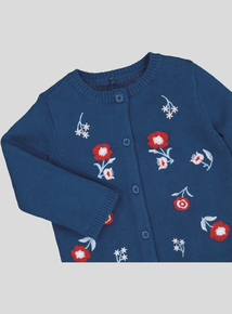 Navy Floral Embroidered Cardigan (0-24 months)