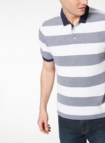 White and Navy Block Stripe Polo Top