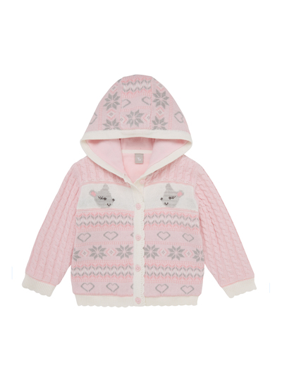 ac84dad90975 Baby Girls Pink And Cream Knitted Cardigan (0-24 months)
