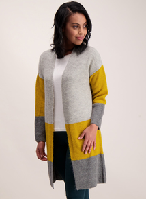Multicoloured Colour Block Longline Cardigan