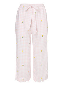 Multicoloured Gingham Embroidered Cropped Trousers
