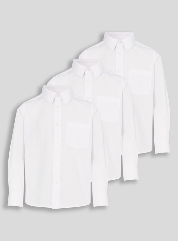 e6973737 Kids White Long-Sleeved School Shirts 3 Pack (3-16 years) | Tu clothing