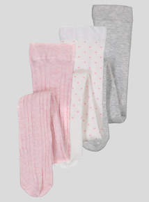 3 Pack Multicoloured Cotton Rich Tights (0- 24 Months)