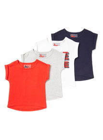 4 Pack Assorted Plain And Printed Tops (3-14 years)