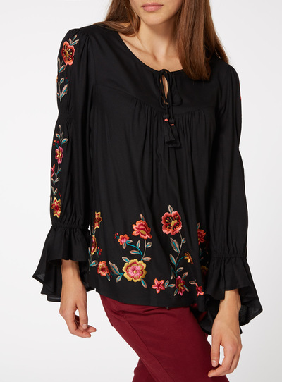 Black Floral Embroidered Detail Blouse