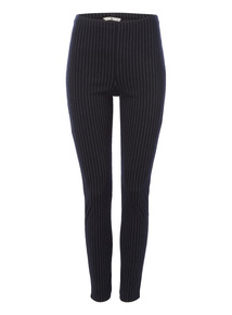 Navy Pinstripe Leggings